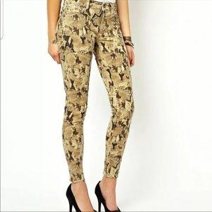 Denim & Supply beige  snake skin skinny jeans 31
